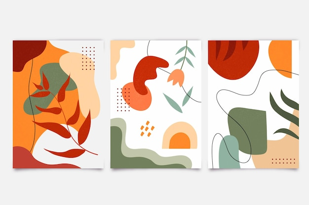 Kleurrijke abstracte handgetekende vormen covers