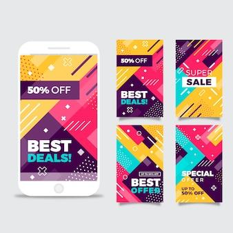 Kleurrijke abstracte instagram verkoopverhalen