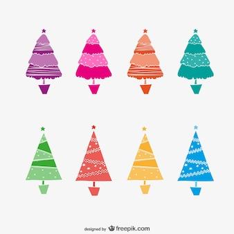 Kleurrijke abstracte kerstbomen