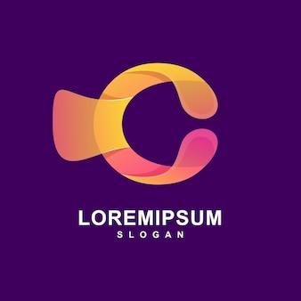 Kleurrijke abstracte letter c logo premium