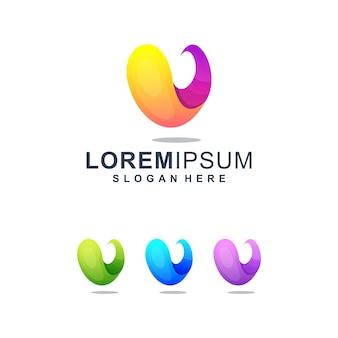Kleurrijke abstracte letter v-logo