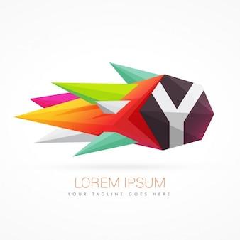 Kleurrijke abstracte logo met de letter y