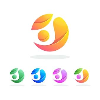 Kleurrijke abstracte logo premium