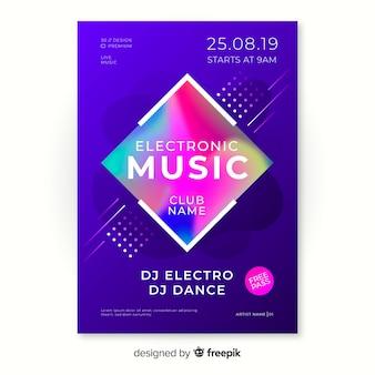 Kleurrijke abstracte muziek poster sjabloon