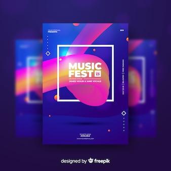 Kleurrijke abstracte muziekfestival poster sjabloon