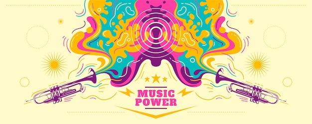 Kleurrijke abstracte muzikale banner