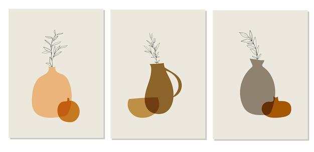Kleurrijke abstracte posters met potten in moderne stijl op witte achtergrond