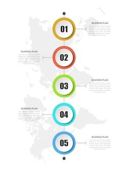 Kleurrijke abstracte tijdlijn infographic bedrijfsstrategie