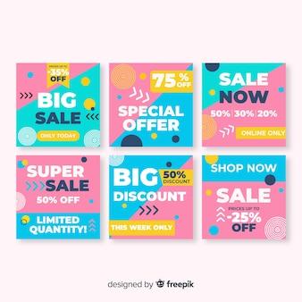Kleurrijke abstracte verkoop instagram posten