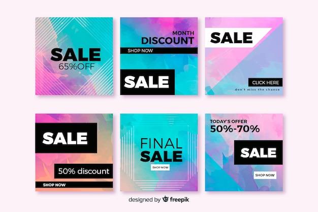 Kleurrijke abstracte verkoop instagram postgroep