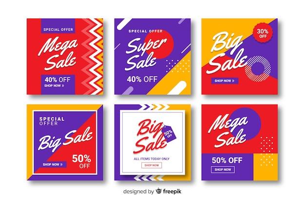 Kleurrijke abstracte verkoop instagram postinzameling met foto