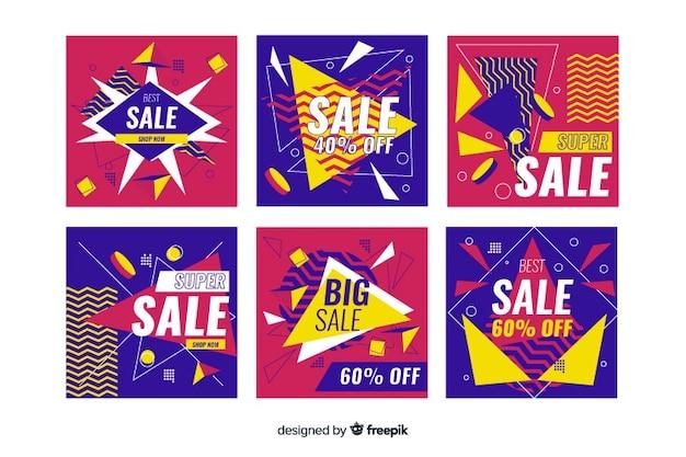 Kleurrijke abstracte verkoop instagram postinzameling