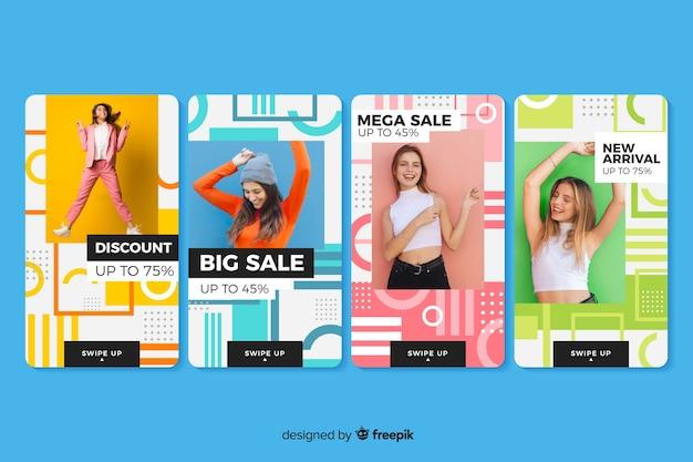 Kleurrijke abstracte verkoop instagram verhalen met foto