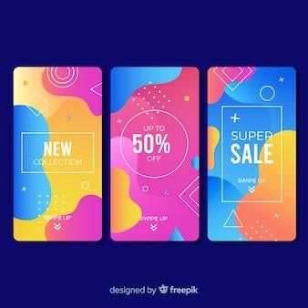 Kleurrijke abstracte verkoop instagram verhalen