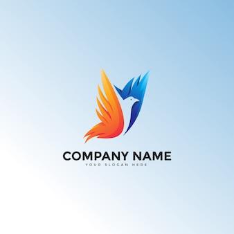 Kleurrijke abstracte vliegende vogel vleugel logo