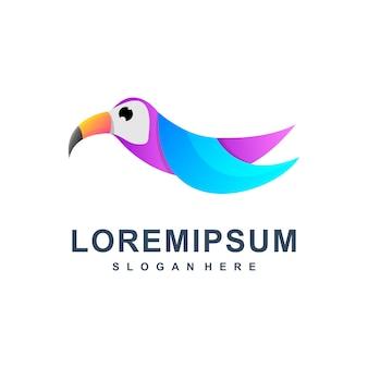 Kleurrijke abstracte vogel logo premium