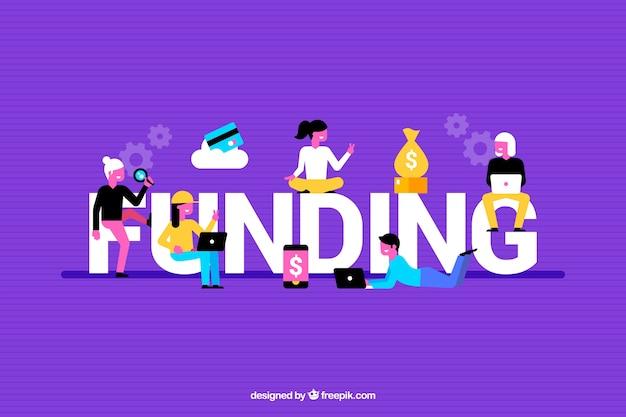 Kleurrijke achtergrond met de financiering van het woord