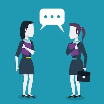 Kleurrijke achtergrond met dialoog tussen bedrijfsvrouwen