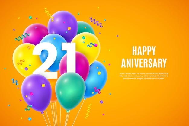 Kleurrijke achtergrond met kleurovergang 21 verjaardag