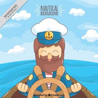 Kleurrijke achtergrond met lachende zeeman