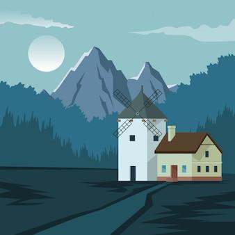 Kleurrijke achtergrond met nachtlandschap van berg en huis met windmolen