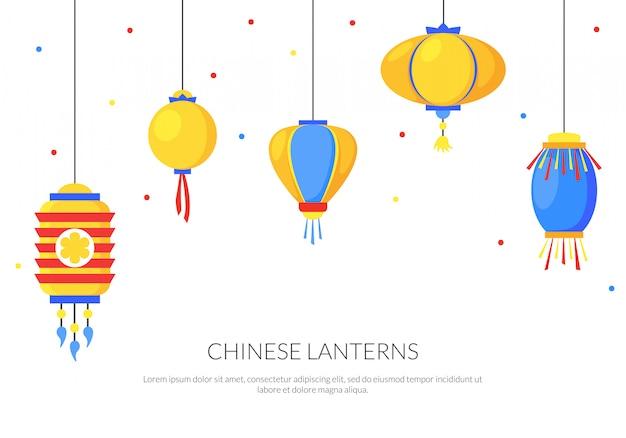 Kleurrijke achtergrond met platte papieren straat chinese lantaarns
