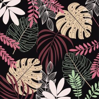 Kleurrijke achtergrond met tropische planten en bladeren