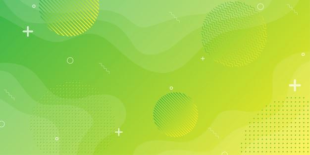 Kleurrijke achtergrond met verhoudingen en componenten in een vloeiende, golvende vorm en kleurgradatie.