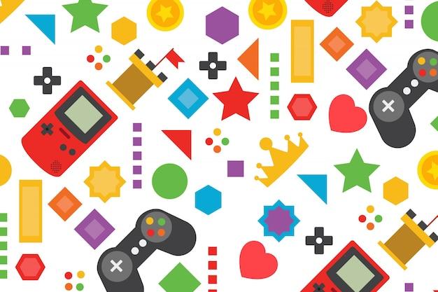 Kleurrijke achtergrond van de videogame in plat design
