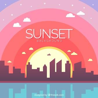 Kleurrijke achtergrond van een zonsondergang in de stad