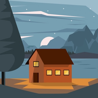Kleurrijke achtergrond van nightly landschap met buitenhuis en bergen en meer