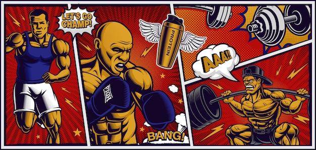 Kleurrijke achtergrond voor fitnesscentrum in pop-artstijl, met cartoonachtige illustraties van hardloper, vechter en bodybuilder.