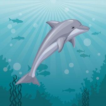 Kleurrijke achtergrond zee landschap onderwater mariene leven en zoogdier dolfijn