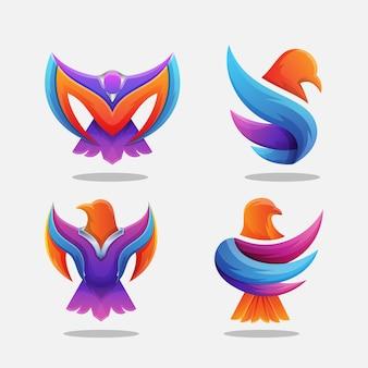 Kleurrijke adelaar logo bundel