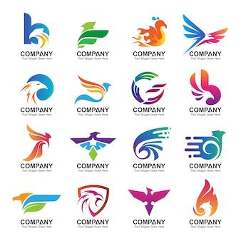 Kleurrijke adelaar logo design collectie