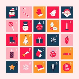 Kleurrijke adventskalender in plat ontwerp