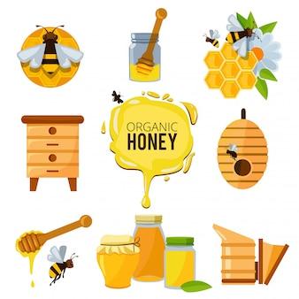 Kleurrijke afbeeldingen van honing stuntelen en verschillende andere symbolen van bijenteelt