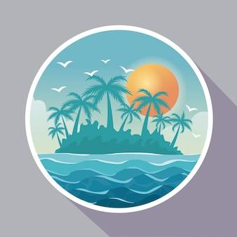 Kleurrijke affiche met cirkelkader van eilandlandschap