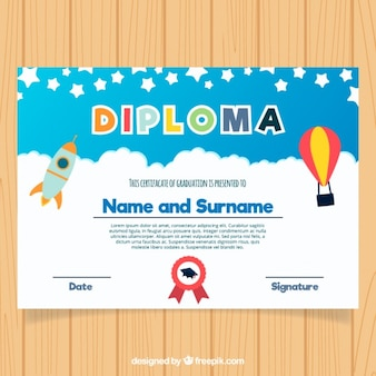 Kleurrijke afstuderen certificaat voor kinderen in plat design