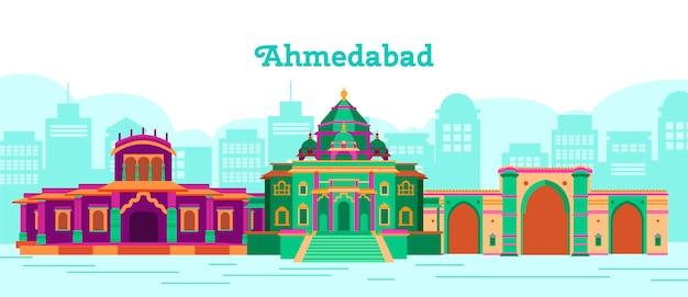 Kleurrijke ahmedabad skyline illustratie