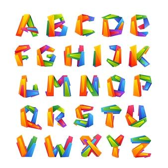 Kleurrijke alfabetletters in lage polystijl