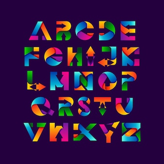 Kleurrijke alfabetten en pijl met verloopstijl