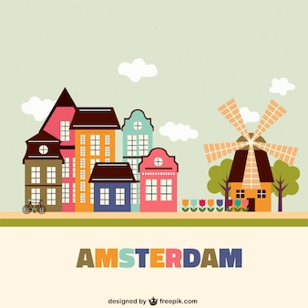 Kleurrijke amsterdam architectuur