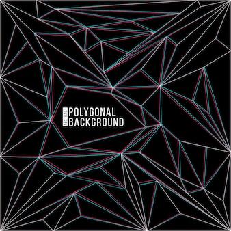 Kleurrijke anaglif blauwe rode lijnen driehoek veelhoekige decoratie geometrische abstracte zwarte achtergrond