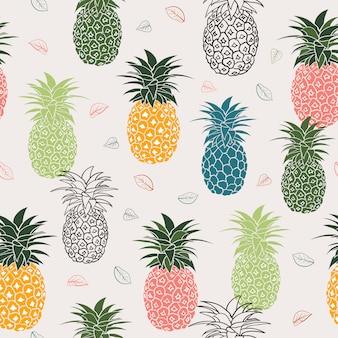 Kleurrijke ananas met bladeren naadloze patroon