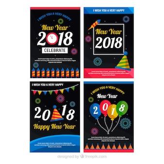 Kleurrijke ansichtkaarten met nieuwjaarsfeest