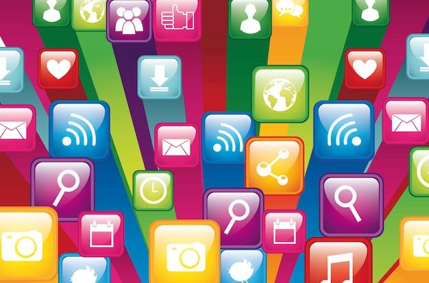 Kleurrijke app winkel close-up vectorillustratie