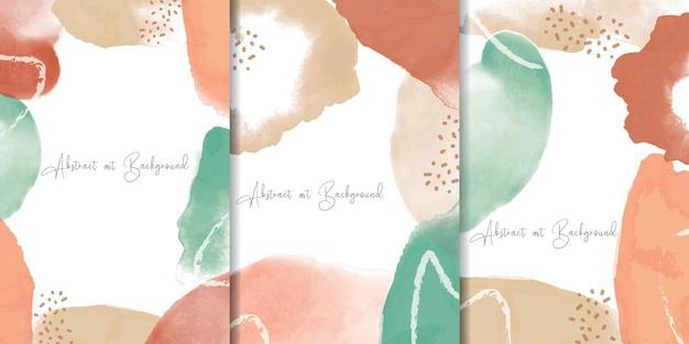 Kleurrijke aquarel achtergrond set met abstracte vloeiende kunst schilderij ontwerp