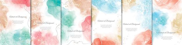 Kleurrijke aquarel achtergrondbundel met abstract vloeibaar kunstschilderijontwerp