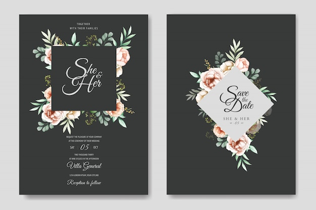 Kleurrijke aquarel bloemen bruiloft uitnodiging sjabloon